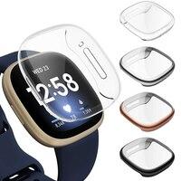 Funda protectora de pantalla para Fitbit Versa 3/Sense, cubierta suave chapada en TPU, marco Protector, carcasa de parachoques, accesorios para reloj inteligente