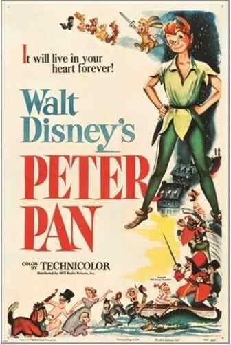 Peter Pan (Rko 1953) Vintage Movie Silk Poster Decoratieve Schilderkunst 24X36Inch