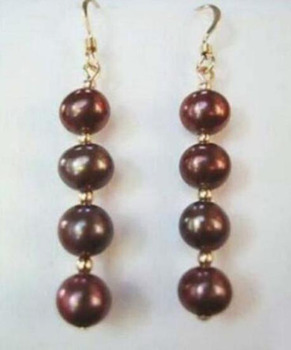 free shipiing surprising natural round 8-9mm pearl earring 925 silver