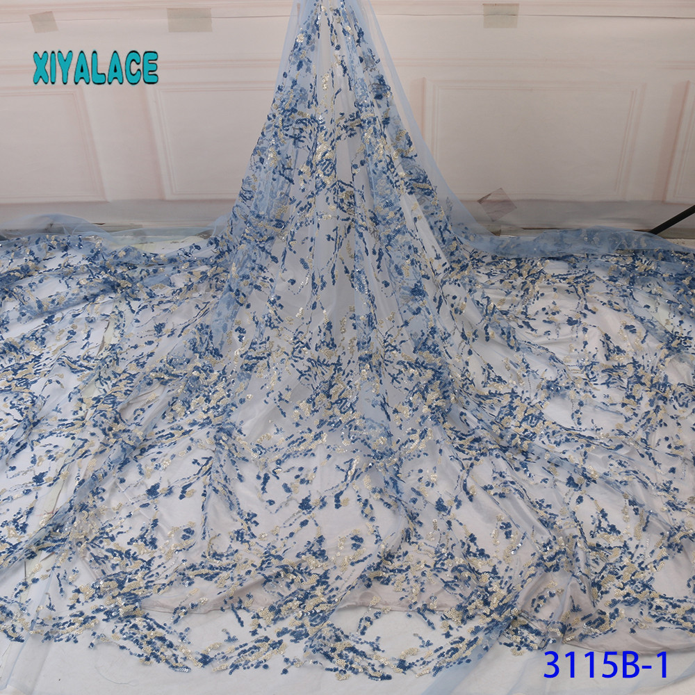 Latest African Lace Fabric Sequins Green Embroidery Nigerian Lace Fabric 2019 French Voile Lace For Bridal And Party YA3115B-1