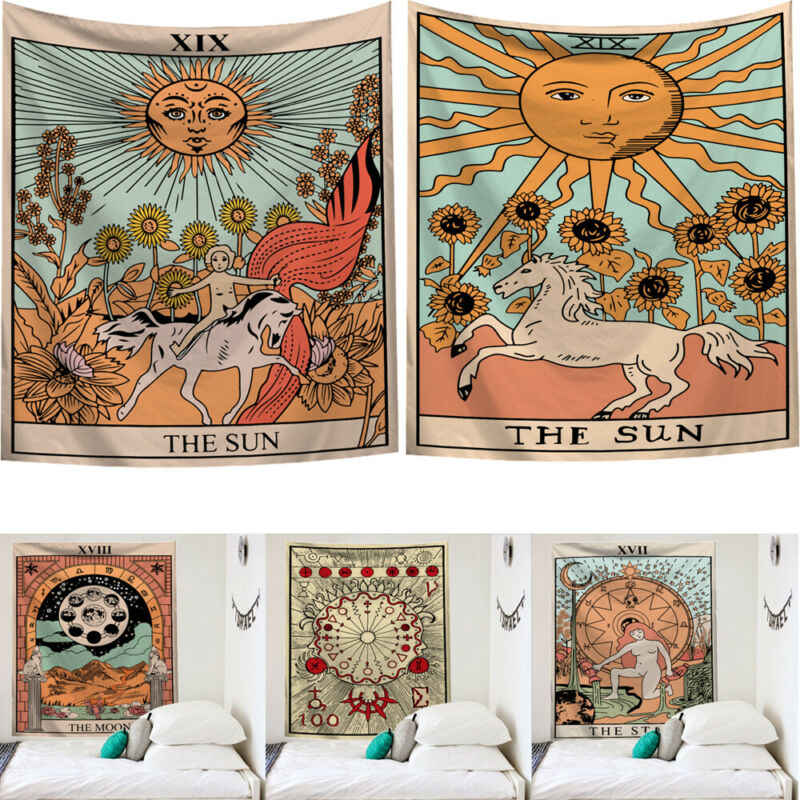 2019 New arrival Tarot Card Print Wall Hanging Indian Tapestry Hippie Bedroom Blanket Bedspread Dorm Decor Throw Cover