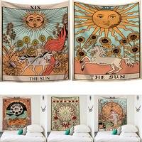 2019 Nieuwe collectie Tarot Kaart Print Wall Opknoping Indische Tapestry Hippie Slaapkamer Deken Sprei Dorm Decor Gooi Cover