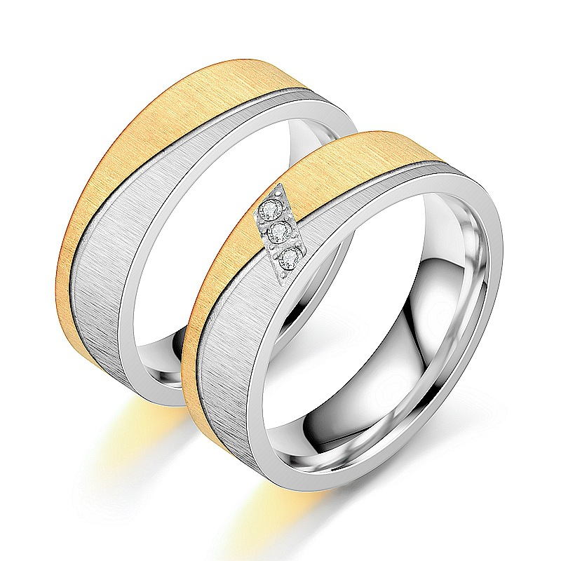 Stainless Steel Lovers Couple Rings for Women Men Wholesale bague Gold Color CZ Wedding Promise Ring Engagement Jewelry 2020