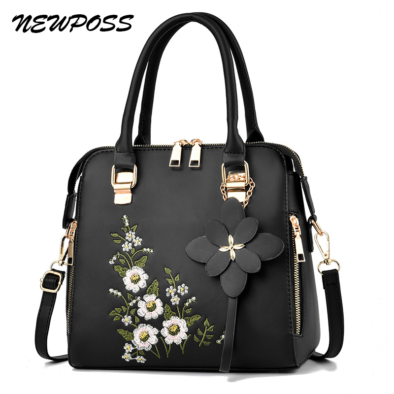 NEWPOSS Women 2020 New Vintage Handbag Casual Tote Fashion Embroidery Messenger Bags Shoulder Top-Handle Purse Wallet Leather