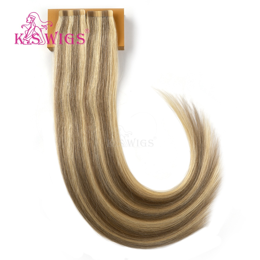 K.S WIGS 2.5g/pc Remy Tape In Human Hair Extensions Balayage Platinum Blonde Color Double Drawn Straight Hair 10pcs 20''