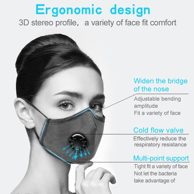Unisex Reusable Cotton Mouth Mask PM2.5 Anti-Dust Face Masks Activated Carbon Filter Mouth-muffle Valve Activated Carbon Filter
