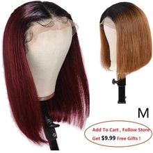 Ombre Deep Part Lace Front Human Hair Wigs For Black Women 1