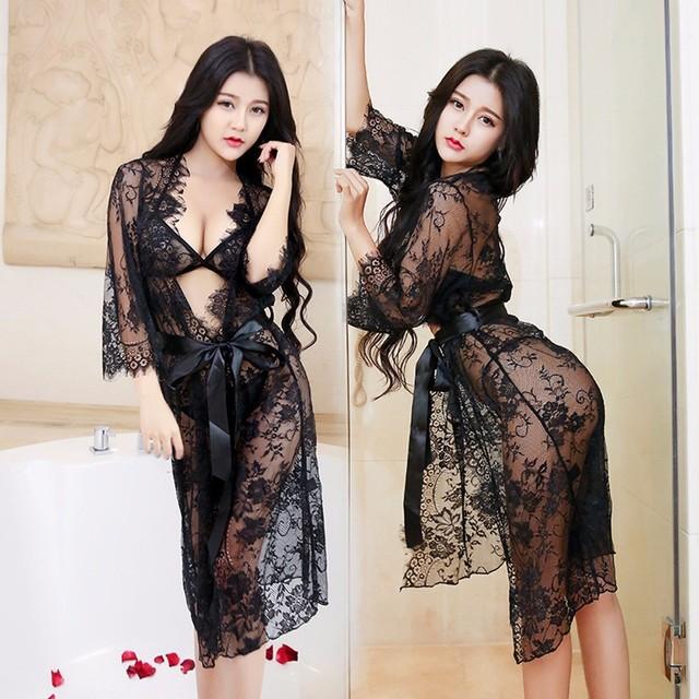 New 1PC Bra +1PC Underwear +1PC Nightdress +1PC Belt Women  Lace Lingerie Sleepwear Dress Babydoll Nightgown Bathrobe #W