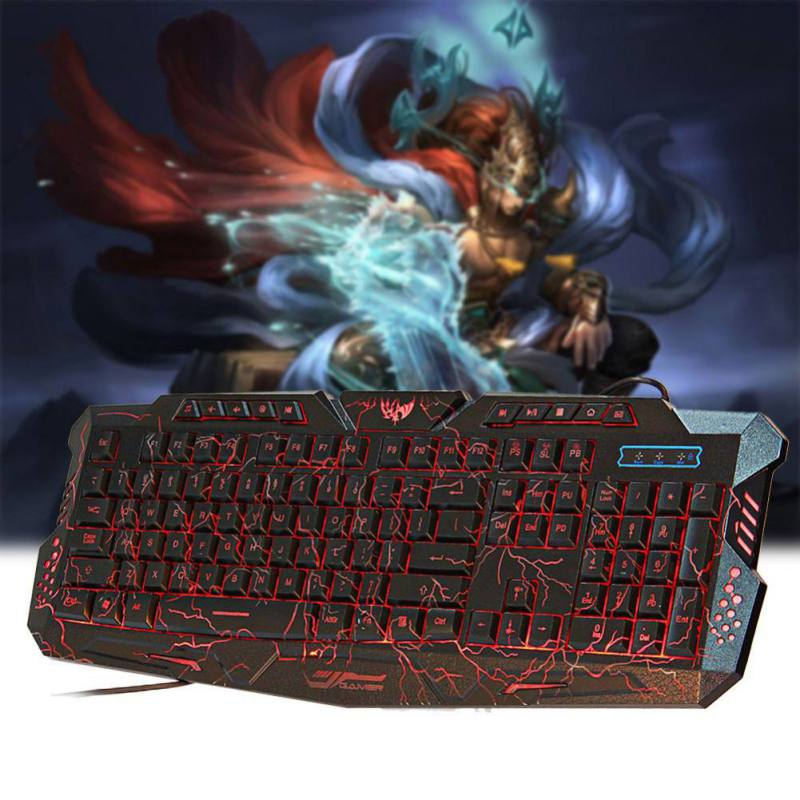 A878 English Russian Wired Keyboard Adjustable Three-color Backlight Burst Crack Keyboard Over 5000000 Hits For Game Office