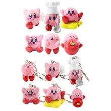6 pçs/lote Kirby Figura Brinquedo Kirby Popopo Chef Com Colher Maçã de Estrela Chaveiro Brinquedos Modelo