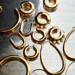 Simple Big Geometric Hoop Earrings Stainless Steel Gold Color Circle Huggie Earrings for Women Fashion Punk Jewelry Brincos 2020