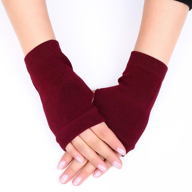 Fashion Winter Knitted Fingerless Wool Glove For Women Warm Wrist Short Gloves Ladies Cashmere Stretch Solid Mittens