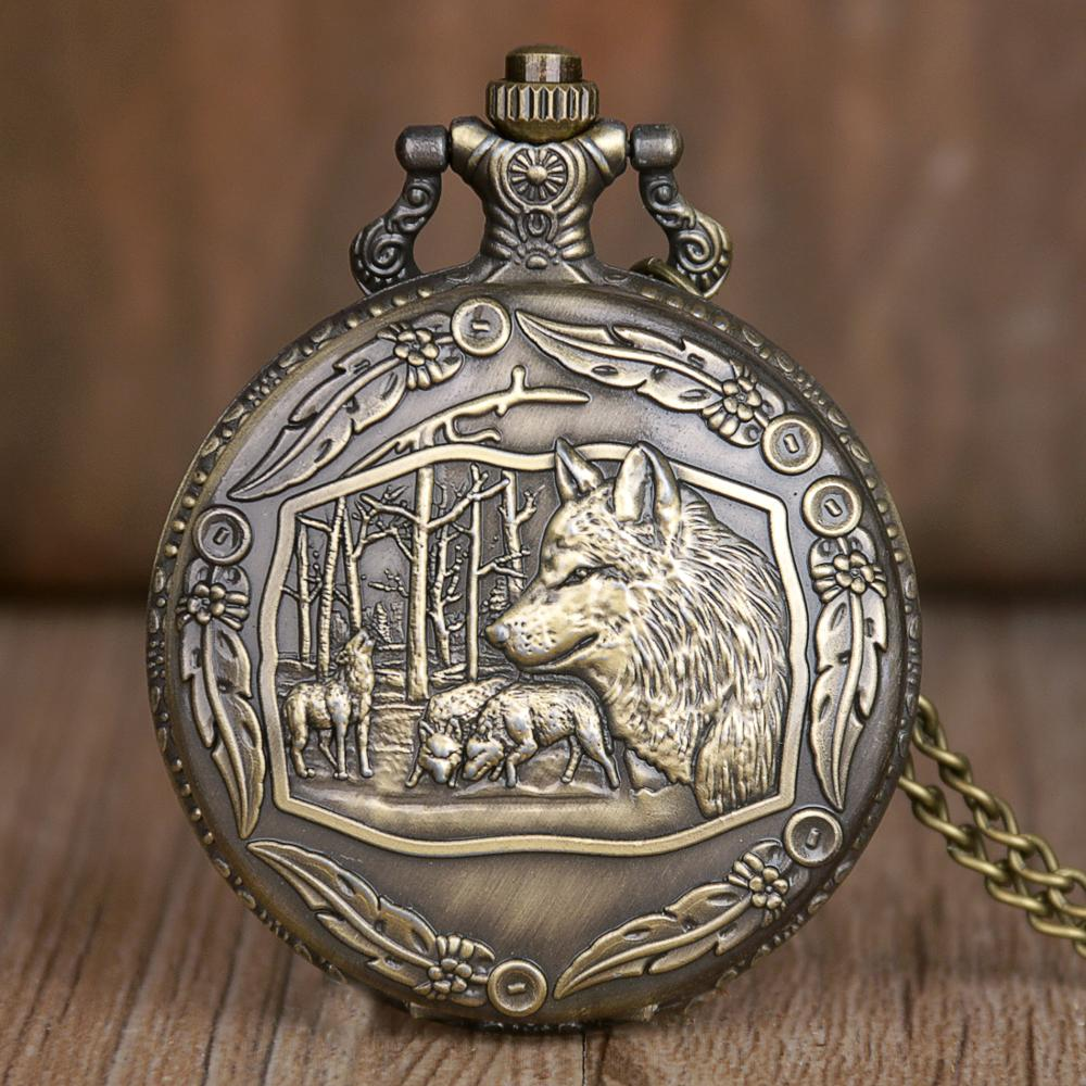 Classic Retro Pocket Watch Wolf Diplay Fashion Men Women Quartz Pocket Watches With Chain