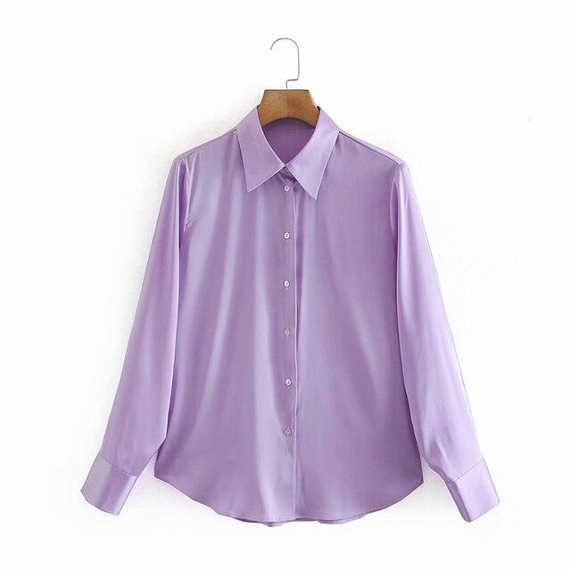 2020 New Fashion Silk Solid color Women Blouses Long Sleeve Turn-down Collar Chiffon Blouse Shirt Casual Tops Loose Work Shirt 2