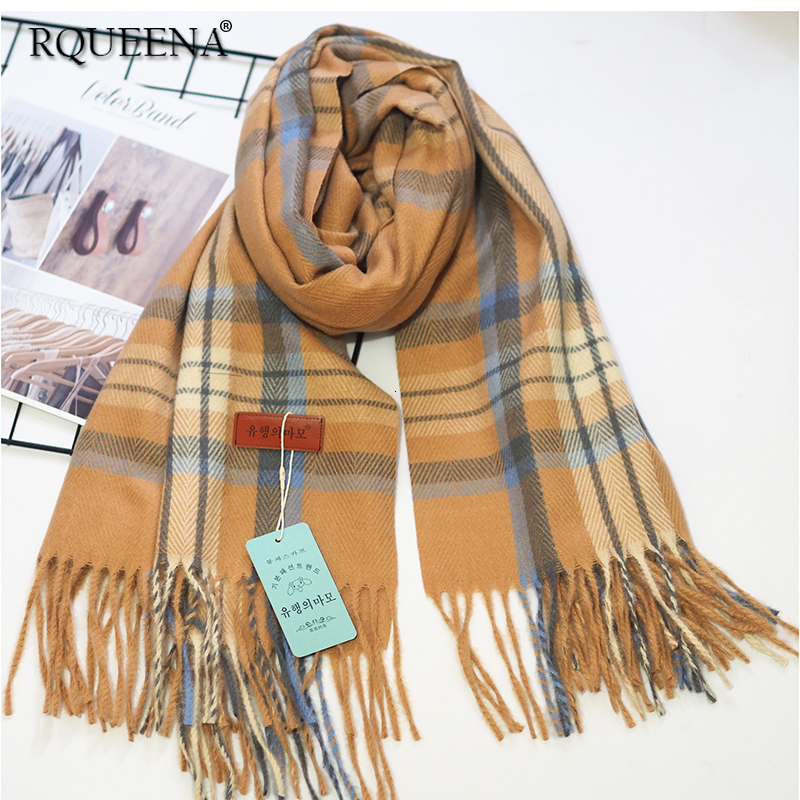 Buy RQUEENA Women's Scarves And Shawls 2019 Autumn Winter Long Plaid Scarfs Warm Knitted Scarf Women Hijab Scarfs SV038 for only 26.72 USD