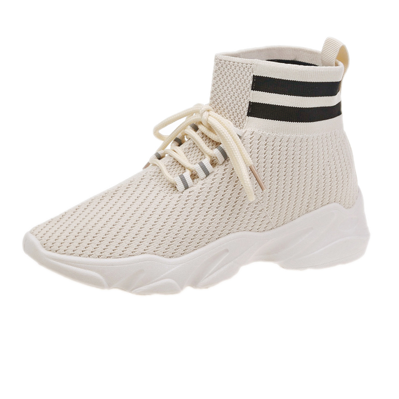 New 2020 new Korean version autumn socks high help students' tennis women's shoes fly woven elastic round head women's shoes