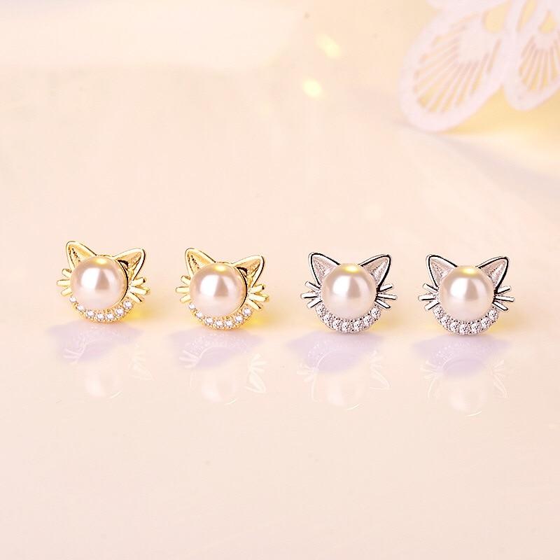 MENGYI Women's Cute Cat Earrings Dainty Charm Flower Stud Earrings Imitation Pearl 9 2 5 Ear Ornaments Girl Simple Daily Jewelry