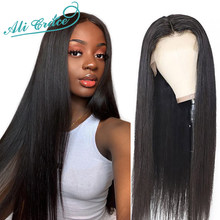 Ali Grace Straight Lace Front Wigs Pre-Plucked Hairline With Baby Hair Brazilian Remy Human Hair Lace Wigs 360 Lace Frontal Wigs(China)