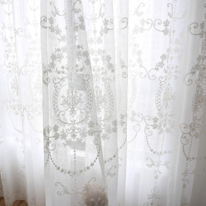 Embroidered White Tulle Curtains For The Living Room Modern Sheer Curtain For Bedroom Kitchen Window Voile Custom Size