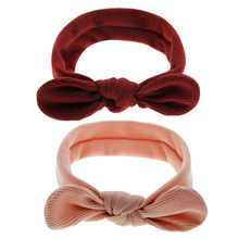 Baby headband with ears Children girls hair bows headband with knot Infant bow turban Girls hair accessories bow hairband