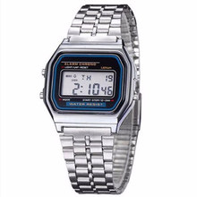 Women Retro LED Metal Shock Sports Fashion Wristwatches relogio masculino Gold Silver Watch