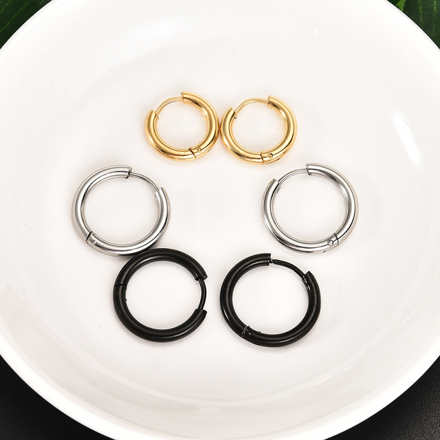 Gothic Stainless Steel Simple Round Stud Earrings 2