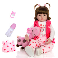 19 Inch Baby Reborn Doll 47cm Soft Silicone Newborn Toddler Babies Dolls Stuffed Realistic Baby Doll With Giraffe Xmas Gift