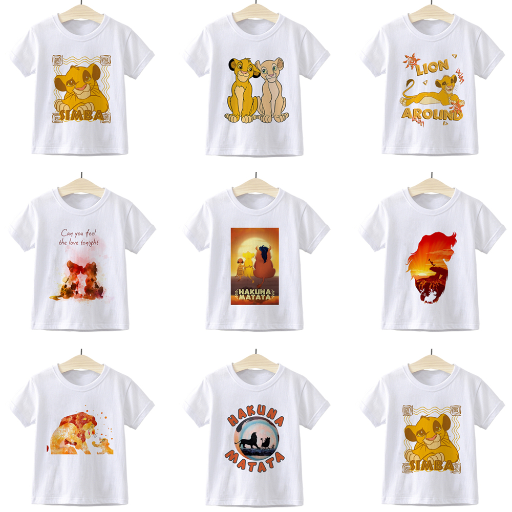 Lion King HAKUNA MATATA Simba Children T-shirt Aesthetic Summer Beautiful Girl Boys Clothes Retro Punk Casual Funny Kids T Shirt