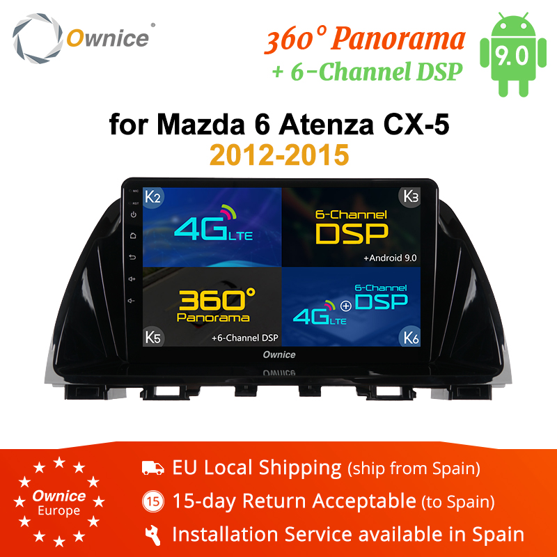 Ownice <font><b>Android</b></font> 9.0 Car <font><b>Multimedia</b></font> Player Stereo for <font><b>Mazda</b></font> <font><b>6</b></font> Atenza CX-5 2012 - 2016 GPS Navigation 4G DSP 360 Panorama 4GB RAM image