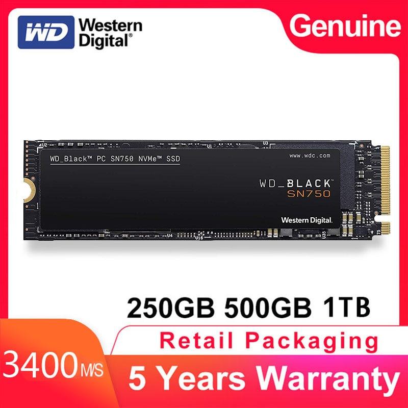 Внутренний твердотельный накопитель Western Digital M2 WD Black SN750 SSD ТБ 250 ГБ 500 Гб M.2 2280 SSD NVMe Gen3 PCle 3D Nand SSD