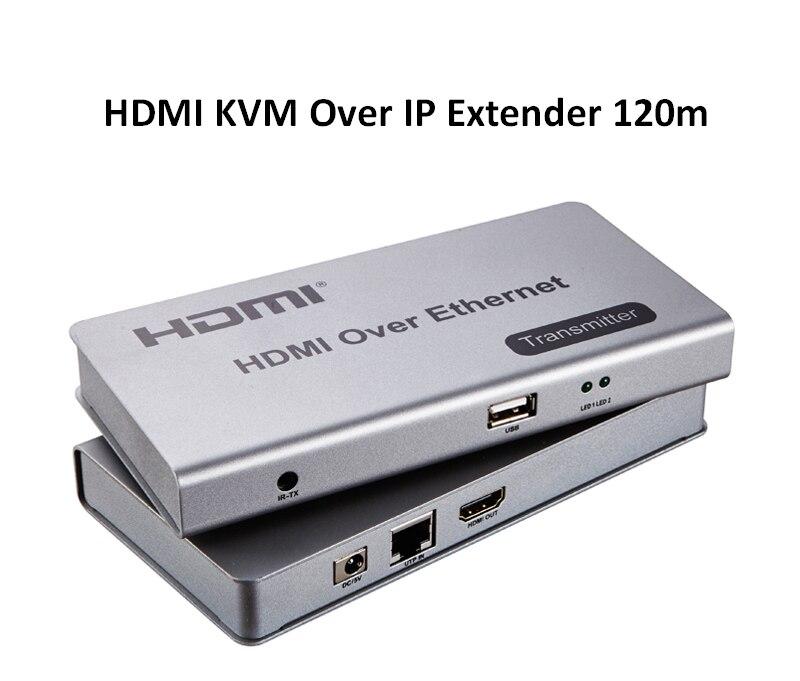 120M HDMI KVM Extender sur IP par simple RJ45 Ethernet Cat5e/6 câble tcp/IP HD 1080P convertisseur Audio vidéo PC TV STB DVD vers HDTV
