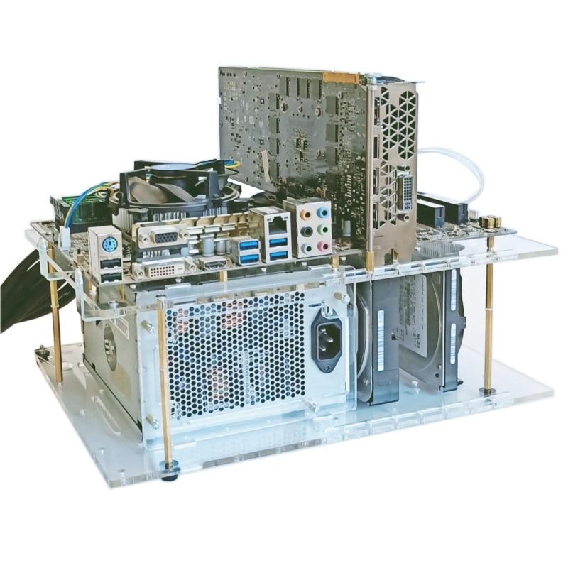 ATX открытый прозрачный корпус, Настольная стойка, 4 слоя для жесткого диска 3,5 2,5 с поддержкой питания ATX/SFX/NAS для водяного охлаждения