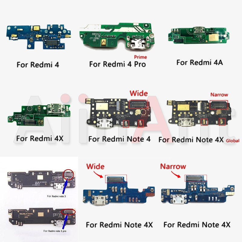 Original USB Date Charging Port Charger Dock Connector Flex Cable For Xiaomi Redmi Note 3 3s 4 4x Pro Prime Repair Ports
