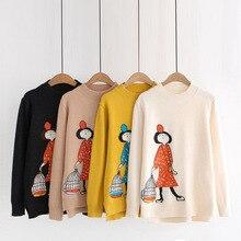 Autumn Winter cartoon girl knitwear sweater o-neck long sleeve knit swe
