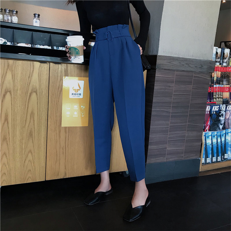 HziriP Fashion Chic Straight Casual Bud-Waist Texture Slender High Waist Slim Loose Solid Women Straight Pants Large Size