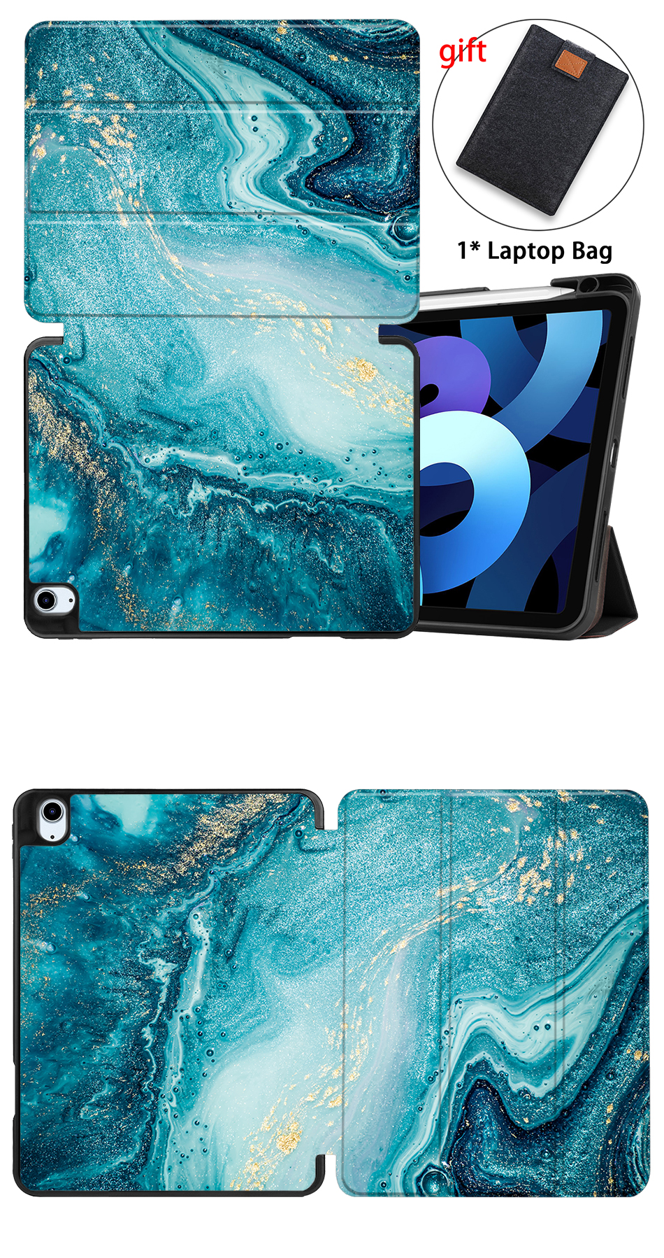 Air MTT Generation Leather inch Stand 4th Soft Case TPU+PU 2020 funda iPad For Flip 10.9