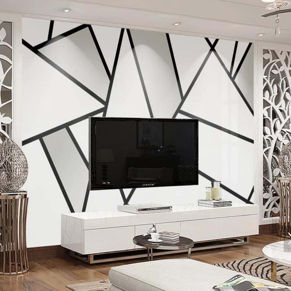 US $8 99 OFF 3D Abstract Geometry Simple Black White Triangle Line Wallpaper Mural For Living Room Bedroom Home Wall Decorative