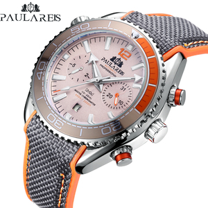 Men Automatic Self Wind Mechanical Canvas Rubber Strap Orange Blue Red Multifunction Date Month Watch
