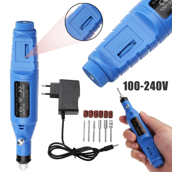 220V Mini Electric Grinder Carving Machine Wood Metal Grinder Engraving Pen Manicure Pedicure Nail Power Grinder Drill Tool Set charging charging speed mini electric grinder nail drill polished jade nuclear engraving machine hand held wood micro small