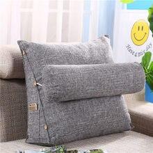 Travesseiro estéreo forma cunha encosto algodão linho sofá almofadas cama descanso lounger leitura travesseiro cintura almofada lavável