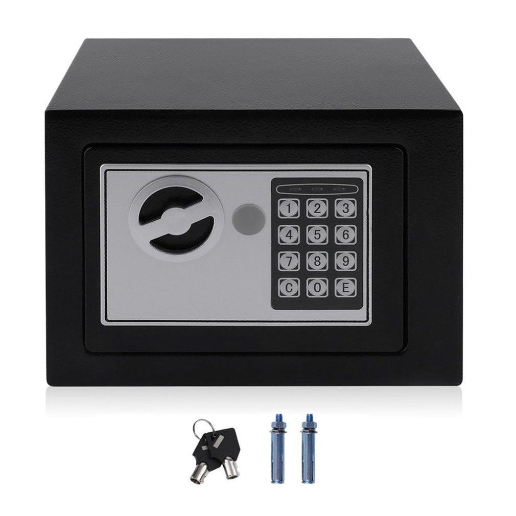 Blue Money Box Safe Metal Lock Boxes Portable 15x12x8cm Travel Case Accessories