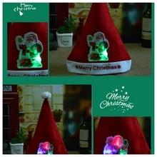 Рождественская шляпа Светодиодный светильник мультфильм Санта Клаус/Лось/Снеговик Рождественская шапка для взрослых детей