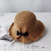 New bow-knot cotton and linen sun hat in summer New Fisherman hat in Korean edition Foldable hat girl with elegant quality