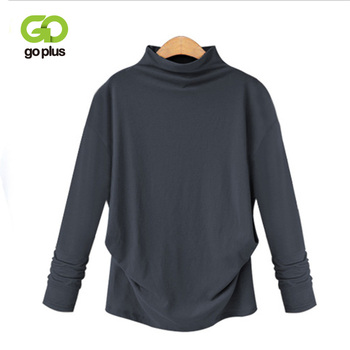 GOPLUS Autumn Womens Long-sleeved Solid Color Casual Top Half High Collar Bottoming Shirt Light