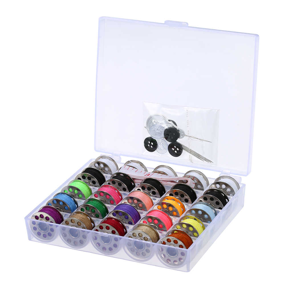 Mixed Colors Bobbins Thread Sewing Accessories Kit with Storage Case for Janome Brother Singer Sew Tools Household Supplies