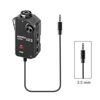 COMICA LinkFlex AD2 XLR/6.35mm to 3.5mm Audio Preamp Adapter with Phantom Power for iPhone/Android/Nikon/Canon Camera and Guitar
