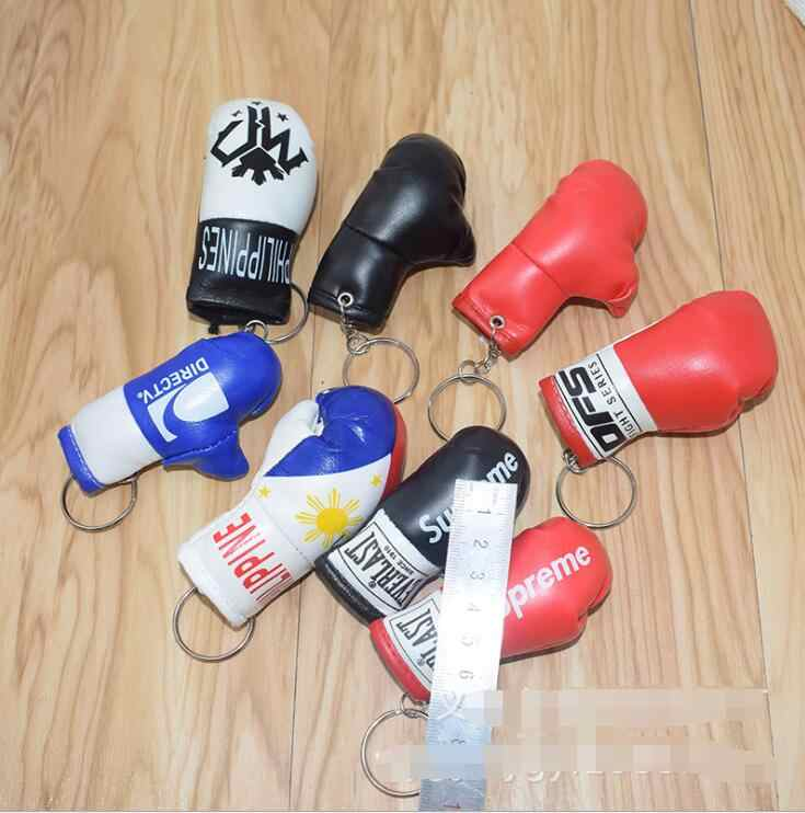 New Design leather boxing gloves keychain PVC fist keychain Sports Keychain accessories Car Keychain Ring Gift Souvenir