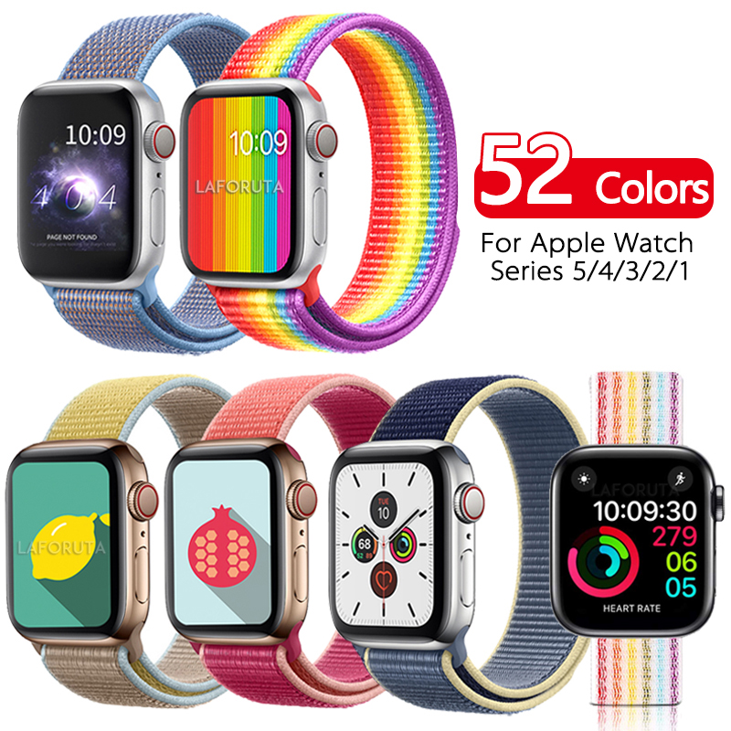 Band For Apple Watch 44mm 40mm Strap Nylon IWatch Correa Series 5 4 3 2 Sport Loop 42mm 38mm Bracelet Watchband Accessories New