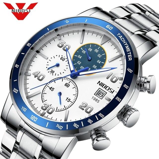 NIBOSI Mens Watches 2020 New Blue Top Brand Luxury Men Sports Chronograph Watch Men Quartz Watches Clock Relogio Masculino