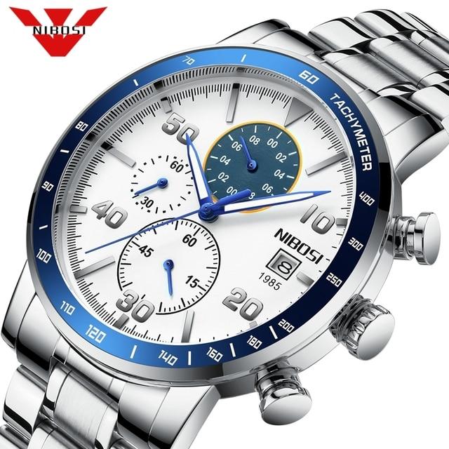 NIBOSI hommes montres 2020 nouveau bleu haut marque de luxe hommes sport chronographe montre hommes montres à Quartz horloge Relogio Masculino
